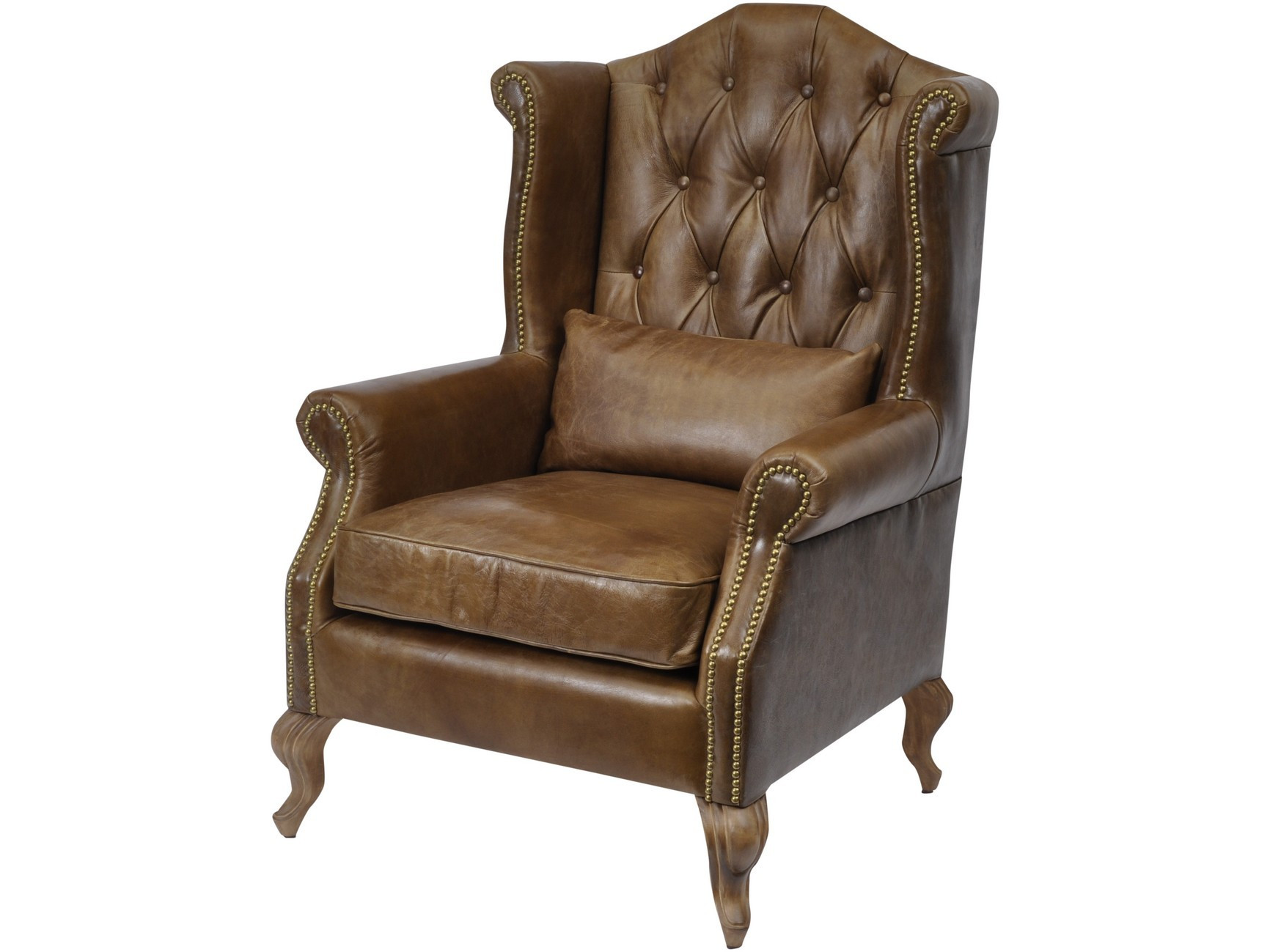 Woodcroft Brown Leather Armchair With Cushion
